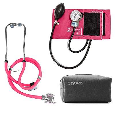 Kit P.A. Med Rosa com Estetoscópio e Aparelho de pressão
