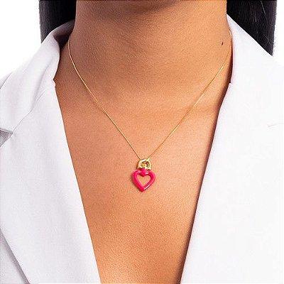 Pingente Coração Rosa Neon