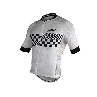 Camisa ASW ACTIVE CHECKER Branco Preto GG