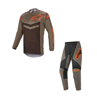 Conjunto Calça + Camisa Alpinestars Fluid Speed 21 Cinza/Laranja