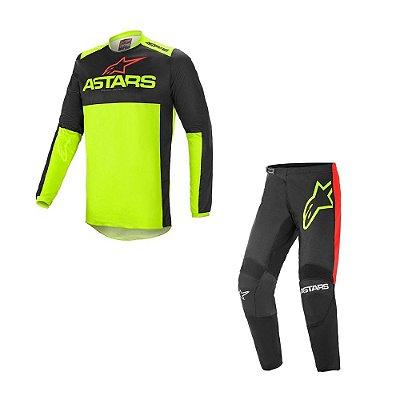 Conjunto Calça + Camisa Alpinestars Fluid Tripple 21 Preto/Amarelo Fluorescente/Vermelho