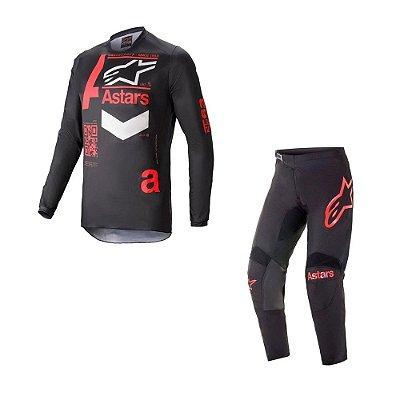 Conjunto Calça + Camisa Alpinestars Fluid Chaser 21 Preto/Vermelho