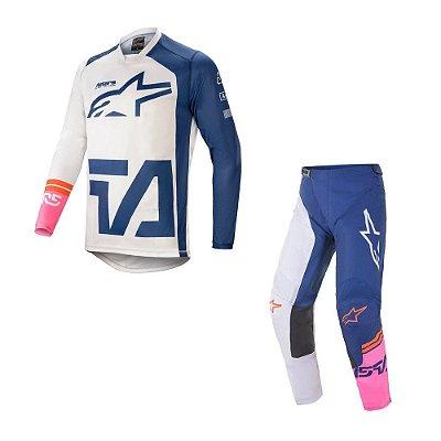 Conjunto Calça + Camisa Alpinestars Racer Compass 21 Branco/Azul Marinho/Rosa Fluorescente