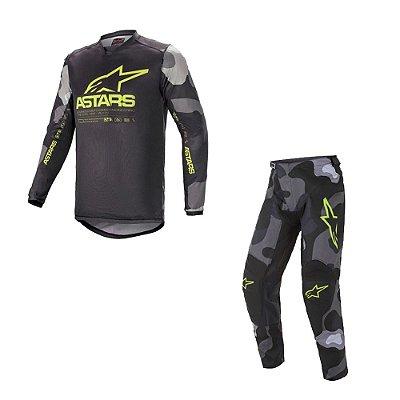 Conjunto Calça + Camisa Alpinestars Racer Tactical 21 Cinza Camuflado/Amarelo Fluorescente