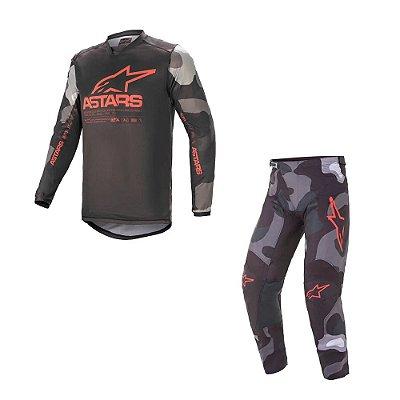 Conjunto Calça + Camisa Alpinestars Racer Tactical 21 Cinza Camuflado/Vermelho Fluorescente