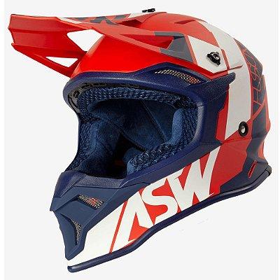Capacete ASW Fusion 2.0 Seecker Vermelho Azul e Branco