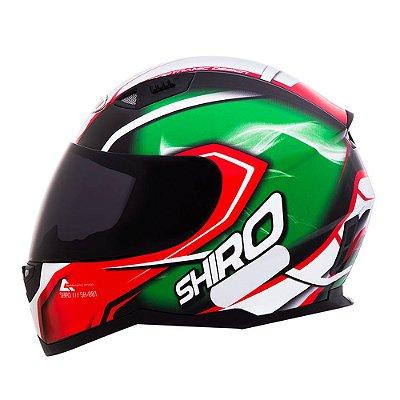 Capacete Moto Shiro Motegi SH-881 Verde/Vermelho