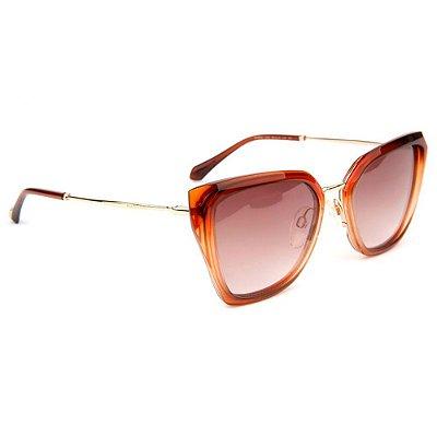 Óculos de Sol Ana Hickmann AH9290 C02/55 Laranja Transparente/Dourado