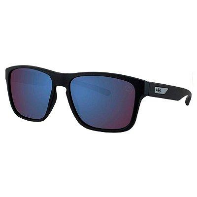 Óculos de Sol HB H-Bomb Teen 9012400187/49 Preto Fosco Espelhado Azul