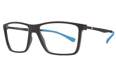Óculos de Grau HB Duotech 93139/56 Preto Fosco D. Azul