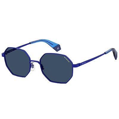 Óculos de Sol Polaroid PLD 6067/S/53 Azul - Polarizado
