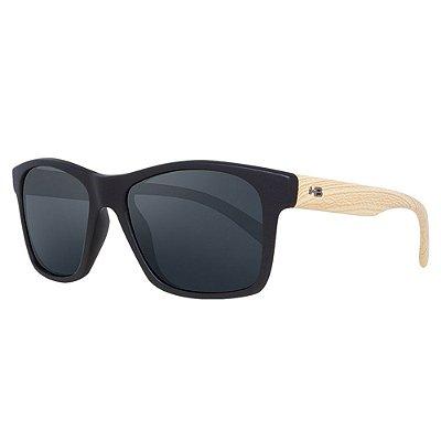 Óculos de Sol HB Unafraid/54 Preto/Madeira - Lente Cinza Polarizado
