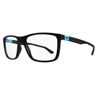 Óculos de Grau HB Duotech 93138/50 Preto Fosco Detalhe Azul
