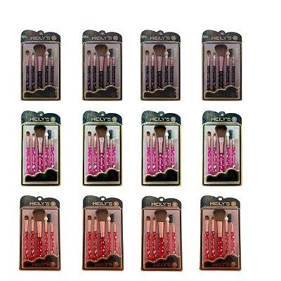 Kit com 5 Pincéis para Maquiagem Meily's MKP-157 – Pcte c/ 12 unid