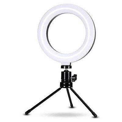Luz Ring Light 6 Polegadas com Suporte Mini Tripé