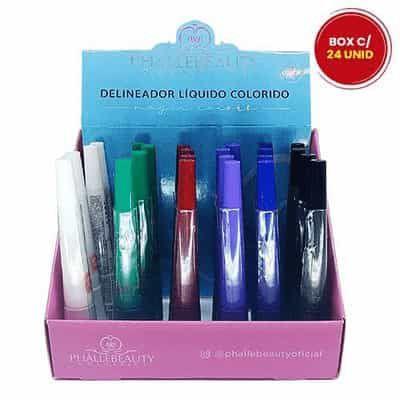 Delineador Líquido Colorido Phállebeauty PH03032 - Box c/ 24 unid