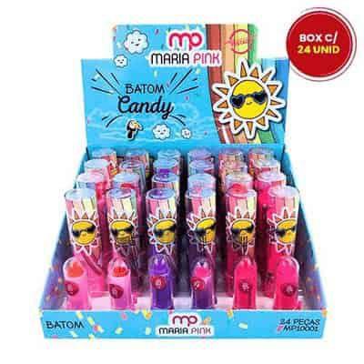 Batom Bastão Cremoso Infantil Candy Maria Pink MP10001 - Box c/ 24 unid