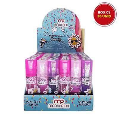 Brilho Labial Infantil Candy Maria Pink MP10007 - Box c/ 36 unid