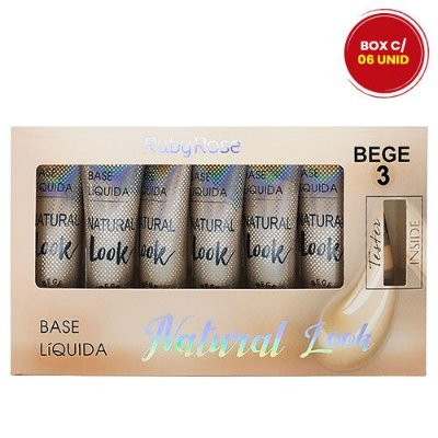 Base Natural Look Ruby Rose HB-8051 Cor Bege 3 - Box c/ 06 unid