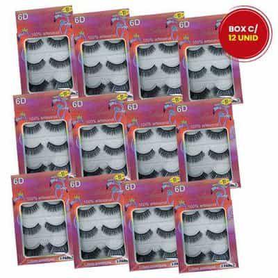 Cílios Postiços 6D-01 com 03 Pares Bilansy CNL218-1 - Box c/ 12 unid