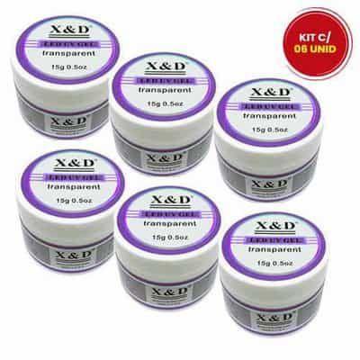 Gel de Unha Led UV X & D Transparente - Kit c/ 06 unid