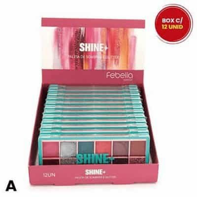Paleta de Sombras 12 Cores Shine+ Febella PSO30316 - Box c/ 12 unid