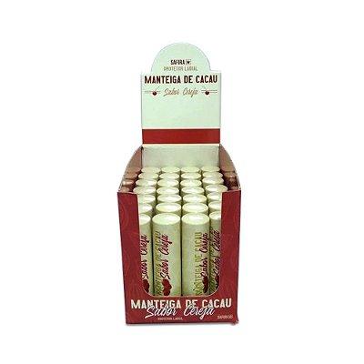 Manteiga de Cacau Protetor Labial Sabor Cereja Safira - Box c/ 35 unid