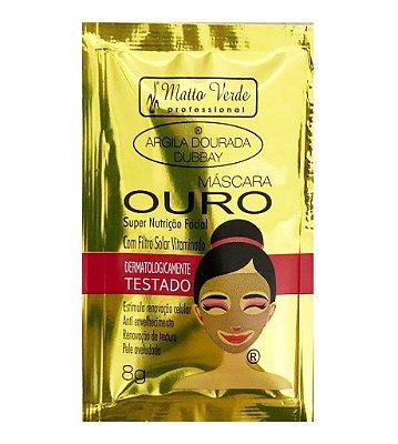 Máscara Facial Ouro Argila Dourada Dubbay Matto Verde - Pcte c/ 10 unid