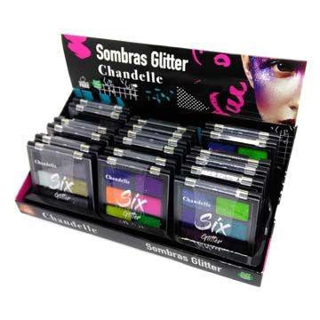 Paleta de Sombras Glitter Chandelle Cor B - Box c/ 18 unid