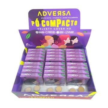 Pó Facial Compacto Velvety Cover HD da Adversa AD114-A – Box c/ 24 unid
