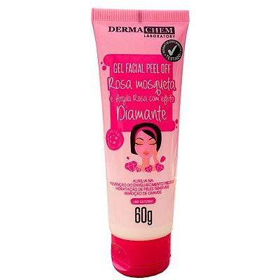 Gel Facial Peel Off Rosa Mosqueta e Argila Rosa com Efeito Diamante Dermachem