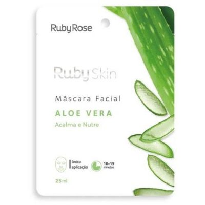 Máscara Facial de Tecido Aloe Vera Ruby Rose HB-703