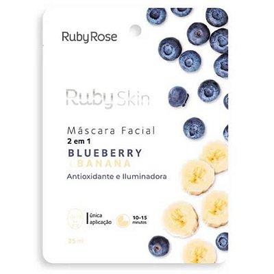 Máscara Facial de Tecido Blueberry e Banana Ruby Rose HB-705