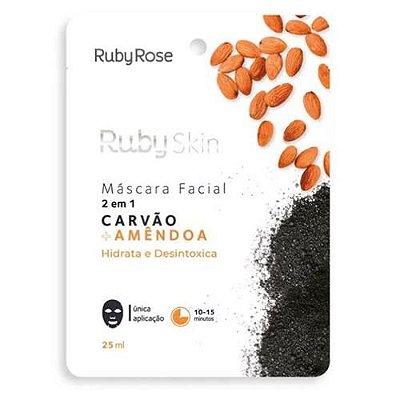 Máscara Facial de Tecido Carvão e Amêndoa Ruby Rose HB-706