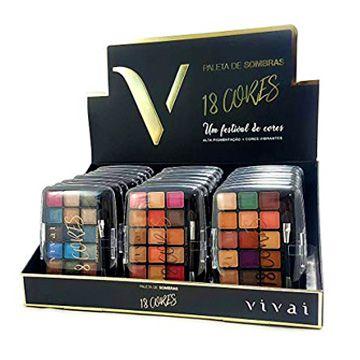 Paleta de Sombras 18 Cores Vivai 2194 - Box c/ 24 unid