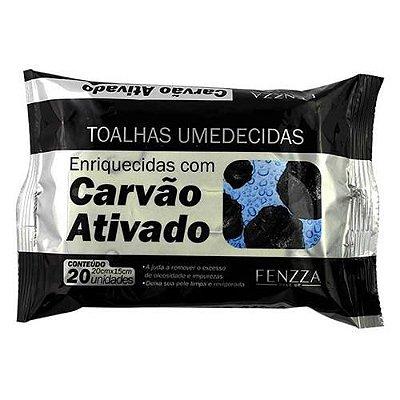 Toalhas Umedecidas de Limpeza Facial com Carvão Ativado Fenzza FZ51015 – Kit c/ 06 unid
