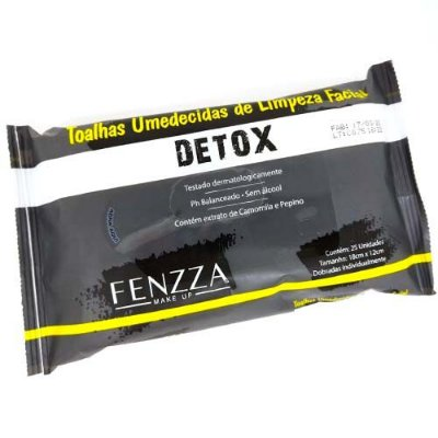 Toalhas Umedecidas de Limpeza Facial Detox Fenzza FZ51013 – Kit c/ 06 unid