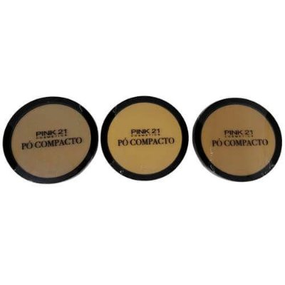 Pó Facial Compacto Pink 21 Cosmetics CS2356 Cor A 01 ao 03 - Kit c/ 03 unid