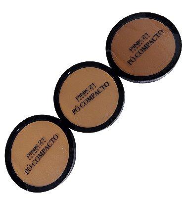 Pó Facial Compacto Pink 21 Cosmetics CS2356 Cor B 04 ao 06 - Kit c/ 03 unid