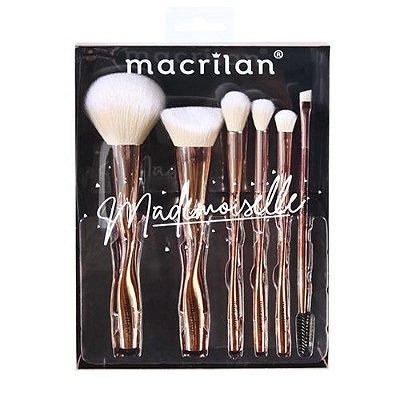 Kit com 06 Pincéis para Maquiagem Mademoiselle Macrilan ED004
