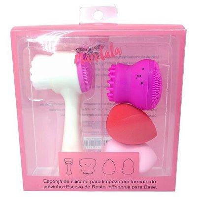 Kit Escova de Limpeza Facial + Esponja Polvinho e Esponja para Maquiagem Mandala FP-024