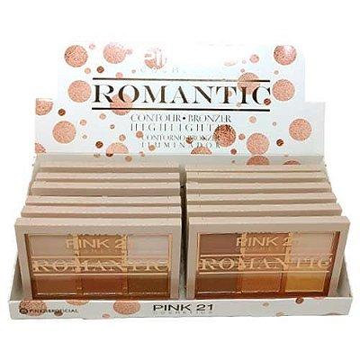 Paleta de Contorno Bronzer e Iluminador Romantic Pink 21 Cosmetics CS2763 - Box c/ 12 unid