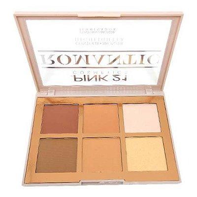 Paleta de Contorno Bronzer e Iluminador Romantic Pink 21 Cosmetics CS2763