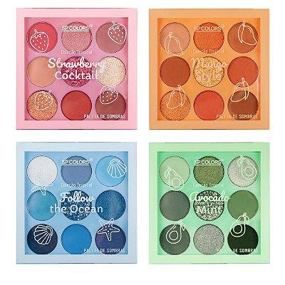 Paleta de Sombras Coleção Tropical SP Colors SP222– Kit c/ 04 unid