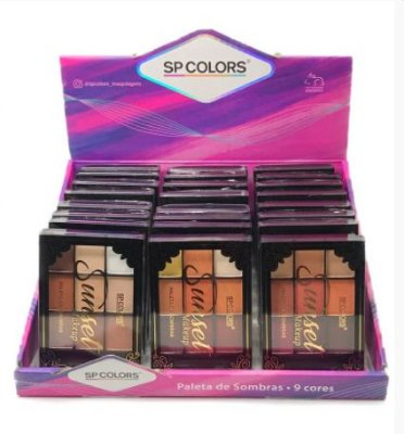 Paleta de Sombras Sunset SP Colors SP154 – Box c/ 24 unid