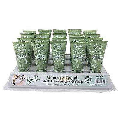 Máscara Facial Argila Branca Kaolin + Chá Verde Kyrav 795 – Box c/ 20 unid