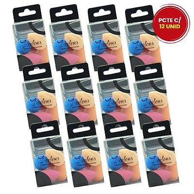 Kit com 05 Mini Esponja para Maquiagem Seven Colors YZ-1004 – Pcte c/ 12 unid