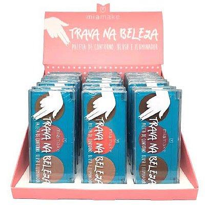 Paleta de Contorno, Blush e Iluminador Trava na Beleza Mia Make 259 - Box c/ 24 unid