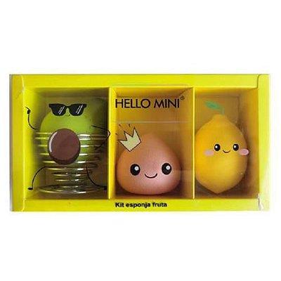 Kit Esponja Frutas para Maquiagem Hello Mini KIT301