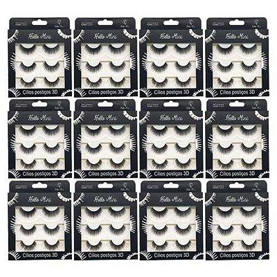 Cílios Postiços 3D com 03 pares Hello Mini CL142-1 – Box c/ 12 unid